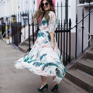 Waterfall print chiffon maxi dress